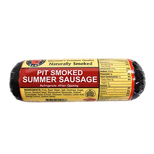 WISCONSIN'S BEST - PIT Smoked Summer Sausage - ORIGINAL - All Natural Hickory Flavor - 12 oz - Try with crackers!! by Wisconsin's Best