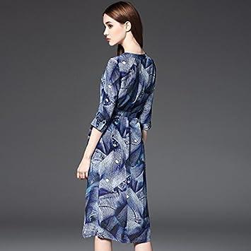 YF-Moda Europea y americana, personalizada vestidos impresos, cintura adelgazar cualidades , blue