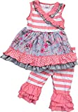Little Girl Kids Sleeveless Floral Stripes Dress Ruffle Pants Set Pink 2T XS 200776
