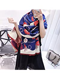 YUANZ Home Scarf Female Autumn and Winter New Camellia Imitation Cashmere Shawl Classic Fashion air Conditioning Shawl Wild (Color : Blue, Size : 180 * 70)