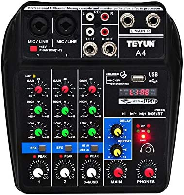 Accrie Sound Mixing Console with Bluetooth Record 4 Channels Audio Mixer for Stage Performance Family K Songs Black U.S Plug