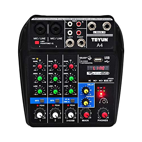 - Ocamo Sound Mixing Console with Bluetooth Record 4 Channels Audio Mixer for Stage Performance Family K Songs U.S Plug