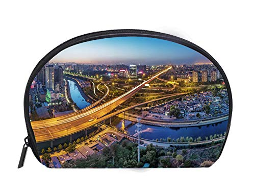 Portable Toiletry Cosmetic Bag China Beijing overpass after sunset night Travel Cosmetic Case Luxury Makeup Artist Bag ()