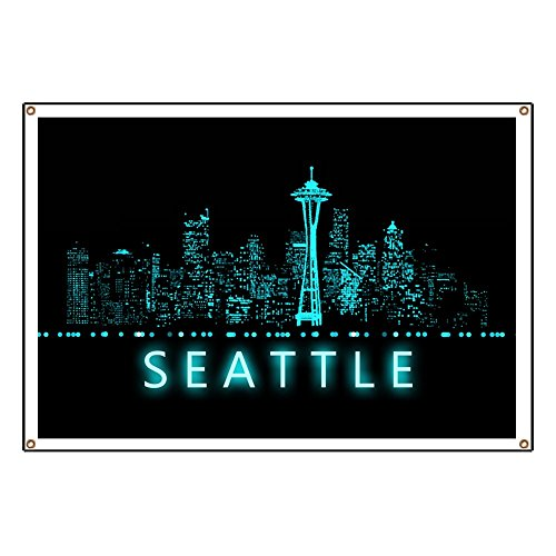 CafePress Digital Cityscape: Seattle, Washington - Vinyl Banner,