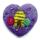 """NEEDLE FELTED BUMBLE BEE HIVE HEART SHAPED ORNAMENT 2"""""""
