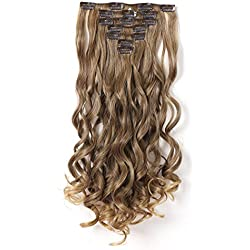 """Onedor 20"""" Curly Full Head Clip in Synthetic Hair Extensions 7pcs 140g (R1416T)"""