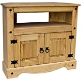 Vida Designs Corona Solid Pine Furniture Corner TV Unit, Wood
