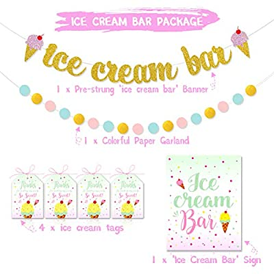 Ice Cream Bar Decorations Kit Gold Glittery Banner Pink & Blue Circle Dots Garland and Ice Cream Sundae Bar Sign for Ice Cream Theme Birthday Baby Shower Party Decorations Supplies Pre-Strung & Ready: Kitchen & Dining