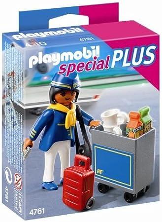 Jeu de Construction 4761 Hotesse de l/'air avec Chariot de Servic Playmobil