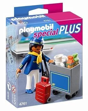 Playmobil - Azafata de vuelo con carrito de servicio (4761): Amazon.es: Juguetes y juegos