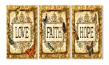 Stupell Home Décor Love, Faith, Hope Tapestry 3-Piece Triptych Wall Plaque Set, 11 x 0.5 x 17, Proudly Made in USA