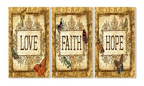 Stupell Home Décor Love, Faith, Hope Tapestry 3-Piece Tri...