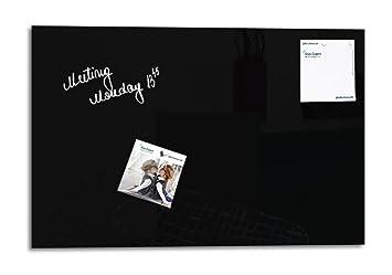 Smart Glass Board ® Pizarra de cristal magnética / Tablero de notas magnético en vidrio + 2 Imanes SuperDym, 60 x 40 cm, Negro