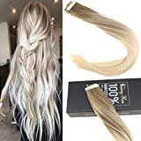 """Sunny 22"""" 100% Human Hair Tape in Remy Extensions Ombre #14 Golden Blonde to Light Blonde Tape in Hair Extensions Balayage Human Hair 40pcs/100g"""