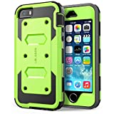 iPhone 5S Case, [Heave Duty] i-Blason Armorbox Slim Hybrid Dual Layer Case with Front Cover and Built-in Screen Protector/Impact Resistant Bumpers Cover with Holster for Apple iPhone 5/5S (green)