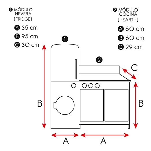 WOOMAX - Cocina de madera modular Modern (ColorBaby 85289): Amazon ...