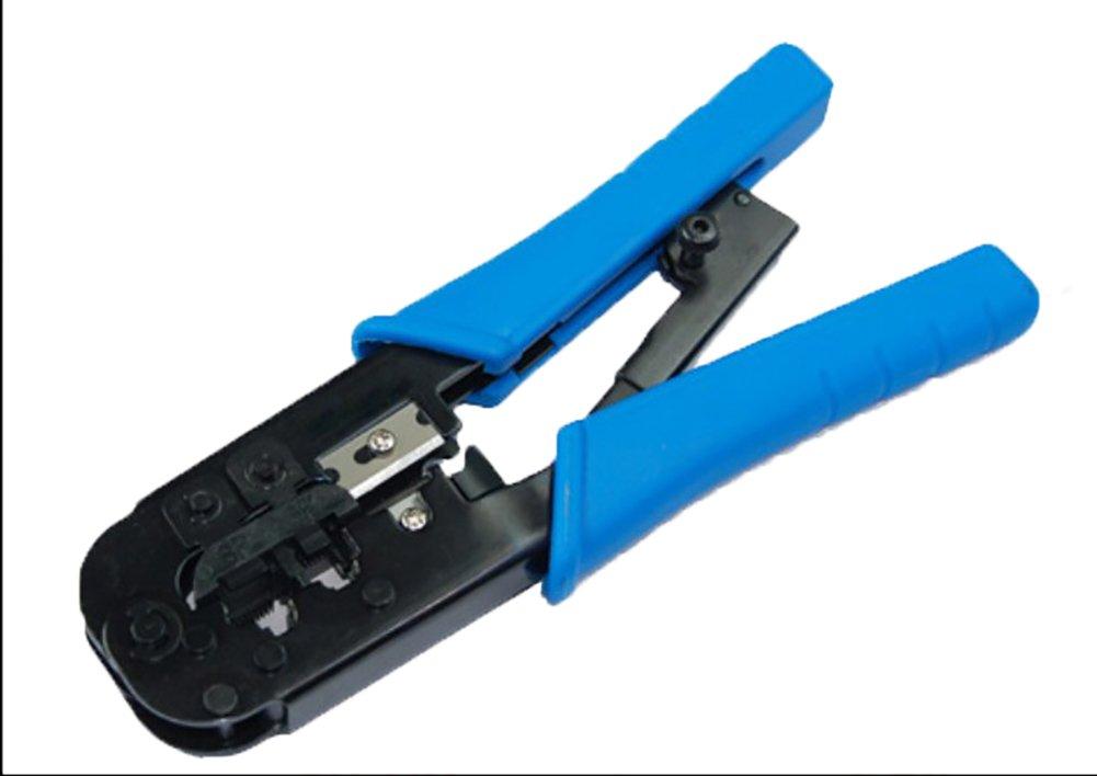 Cable crimpadora, RJ45 red crimpadora, crimpadora, cortador, pelador y bono Infografía para red/Ethernet Cable y Cable de teléfono, Azul: Amazon.es: ...