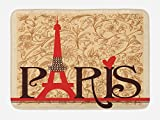 Ambesonne Vintage Bath Mat, Paris Vintage Floral French Eiffel Tower City Holiday Stylish Postcards Gifts, Plush Bathroom Decor Mat with Non Slip Backing, 29.5 W X 17.5 W Inches, Red Brown Ecru