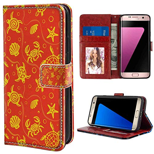 Leather Wallet Case Compatible for Samsung Galaxy S7 Edge (2016) [5.5 Inch] for Women Case (Orange Swimming Turtles and Crabs with Seashells Bubbles and Starfish Tropical Burnt Orange Yellow Texture)