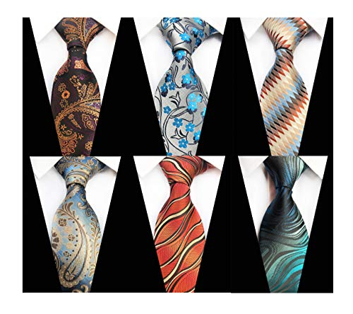 Mens Novelty Paisley Floral Silk Tie Unique Spring Self Poly Woven Party Cool Necktie 3.15