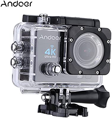 """Andoer 2"""" Ultra-HD LCD 4K 25FPS 1080P 60FPS Wifi Cam FPV Video Output 16MP Action Camera 170°Wide-Angle Lens with Diving 30-meter Waterproof Case (Black)"""