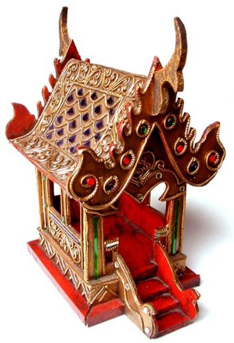 - Thai Spirit House SanPraPhum Thai Buddhist Wood Carving Decorated by Color Mosiac Glasses for Spiritual Haunted Spirit House Temple