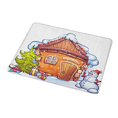 Gaming Mouse Pad Custom Christmas,Cartoon Style Cute House with Snowy Roof Snowman and Fir Tree Presents,Caramel Green White,Non-Slip Personalized Rectangle Mouse pad 9.8