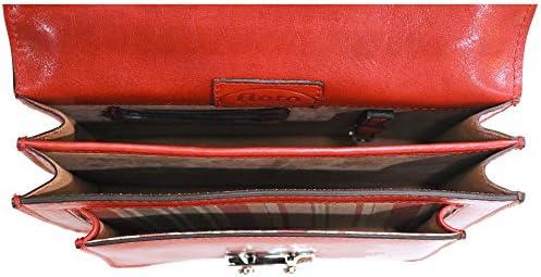 Floto Milano Mini Full Grain Leather Satchel Handbag (Tuscan Red)