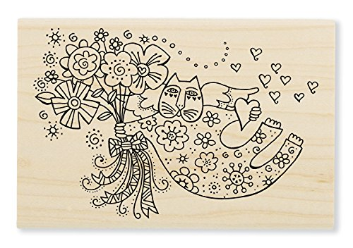 Stampendous LBP010 Laurel Burch Wood Stamp, Love Cat