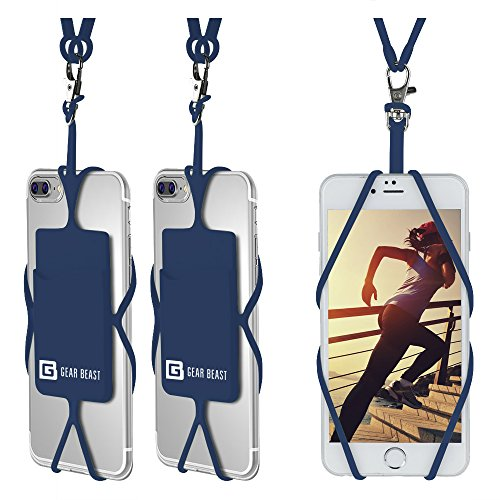 Gear Beast Universal Cell Phone Lanyard Compatible with iPhone, Galaxy & Most Smartphones Includes Phone Case Holder with Card Pocket, Silicone Neck Strap (3 Pack)