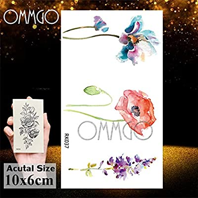 5Pcs- Acuarela Sweetpeas Flower Tattoos Sticker Tatoos Floral Body ...