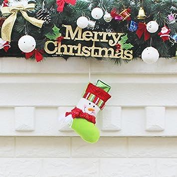 Top Shishang 10.5 * 19.5 * 12 cm 1pcs Personalizado pequeño Bordado a Mano Calcetines de Navidad 3D Santa Claus/Renos, Verde, muñeco: Amazon.es: Hogar