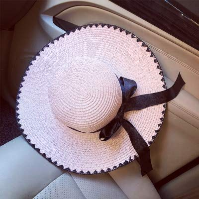 06f554d5c4e28 Image Unavailable. Image not available for. Color  ForShop Sun Hat Big  Black Bow Summer Hats for Women Foldable Straw Beach Panama Hat Visor