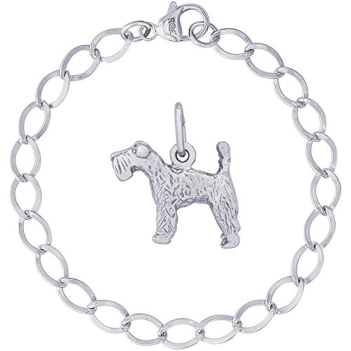 Charm Kerry Terrier Dog Blue (Rembrandt Charms Sterling Silver Kerry Blue Terrier Charm on a Dapped Curb Bracelet, 8