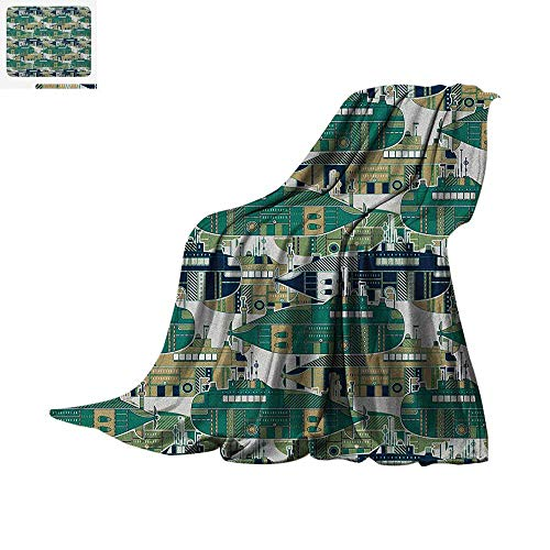 Retro Digital Printing Blanket Old School Submarine Concept with Torpedoes Vintage Hand Drawn Squares Circles Image Oversized Travel Throw Cover Blanket 80