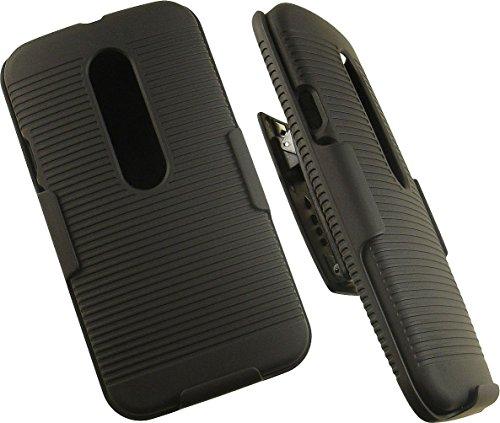 NAKEDCELLPHONE'S BLACK RIBBED RUBBERIZED HARD SHELL CASE COVER - Motorola Moto G Lte Phone Cover