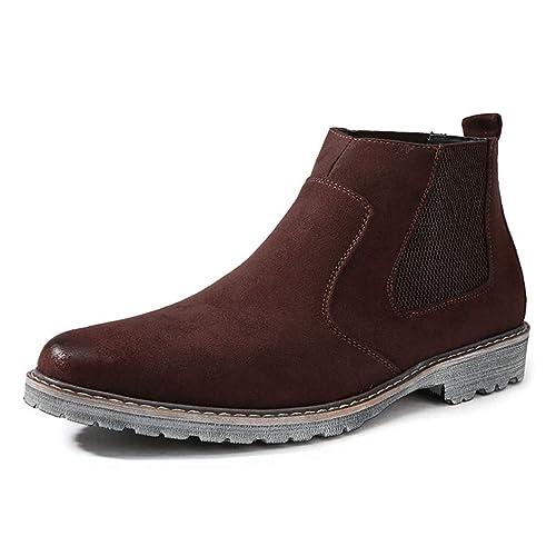 Botas De Chelsea para Hombre Botines De Ante De Vaca Zapatos De Vestir EláSticos con Punta En Punta para Hombre Botas Sin Cordones para El Invierno: ...
