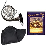 Band Directors Choice Silver Plated Double French Horn Key of F/Bb - Gospel For 2 Play Along Pack; Includes Intermediate French Horn, Case, Accessories & Gospel For 2 Play Along Book