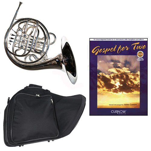 Band Directors Choice Silver Plated Double French Horn Key of F/Bb - Gospel For 2 Play Along Pack; Includes Intermediate French Horn, Case, Accessories & Gospel For 2 Play Along Book by Double French Horn Packs