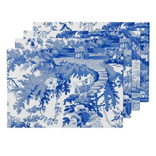 Roostery Blue and White Chinoiserie 4pc Linen Cotton Canvas Cloth Placemat Set - Chinoiserie Toile Willow Blue Blue and White Chinese Watercolor Abstract by Peacoquettedesigns (Set of 4) 13 x 19in