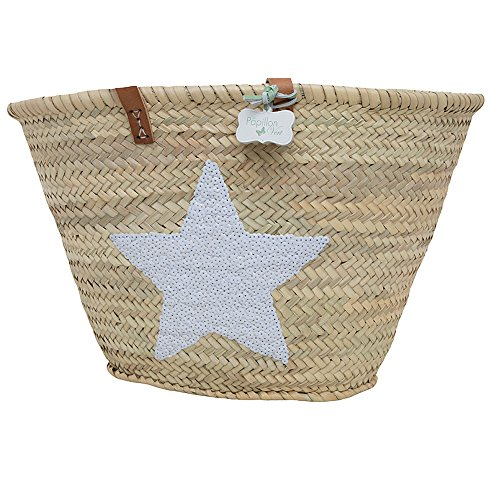 Emma Sequin Star Basket with long leather handles White