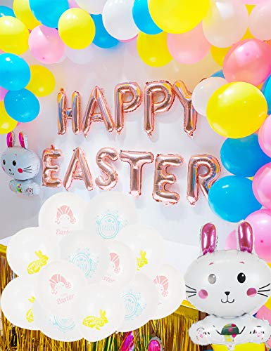 Easter Balloon - 112pcs Easter Party Decorations,Happy Easter Rabbit Balloons Easter Latex Balloons for Home Décor Easter Festival Birthday Party Supplies