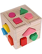 Geometric Block Toy Set, Wood Building Blocks Kids 5.51 * 5.51 * 4.72in Intellectual 13 Holes Game Geometric Shapes Early Educational Toy