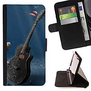 For sony Xperia M4 Aqua Music Guitar Style PU Leather Case Wallet Flip Stand Flap Closure Cover