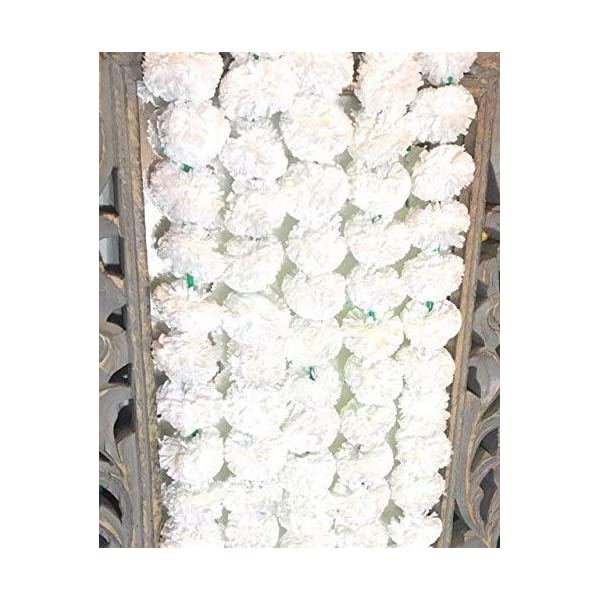5 pack Artificial White Marigold flower garlands/strings 5 ft long- for use in parties, celebrations, Indian weddings, Indian themed event, decorations, house warming, photo prop, Diwali, Ganesh Fest