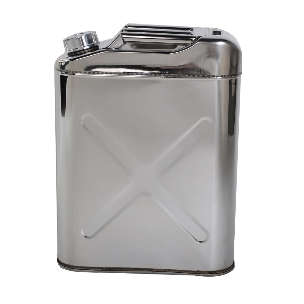 Lovinland 5 Gallon Gas Can Stainless Steel Jerry Can n Emergency Backup Gas Storage Tank(without holder)