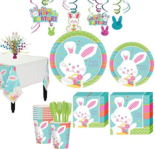 (Party City Hippity Hop Easter Bunny Tableware Kit for 8 Guests, 94 Pieces, Includes Plates, Napkins, and)