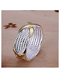 HMILYDYK Jewelry 925 Sterling Silver Plated Wide Fashion X Criss Cross Eternity Ring Wedding Band Gold