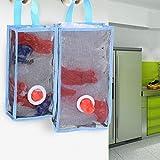 Flee 2 Pack Wall Mount Grocery Bag Dispenser,Hanging Plastic Bag Holder Mesh Container Garbage Bag Organizer Saver for Kitchen Bathroom Office (Blue)
