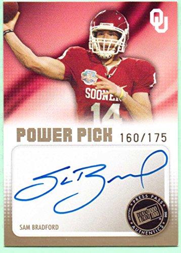 160 Rookie Football Card - Sam Bradford 2010 Press Pass Power Pick Autograph #PP-SB - 160/175 - St. Louis Rams, Rookie, On Card
